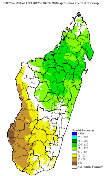 50-74% of average rainfall in the southwest/central west. 73-89% of normal rainfall in central south. 111-150% of normal in north central and far north.