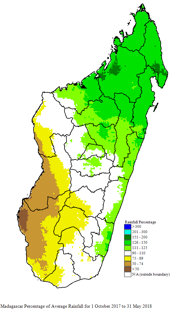 CHIRPS rainfall anomaly from Oct 2017 to June 2018 showing drought and dryness conditions along the southwestern coast of Madagascar