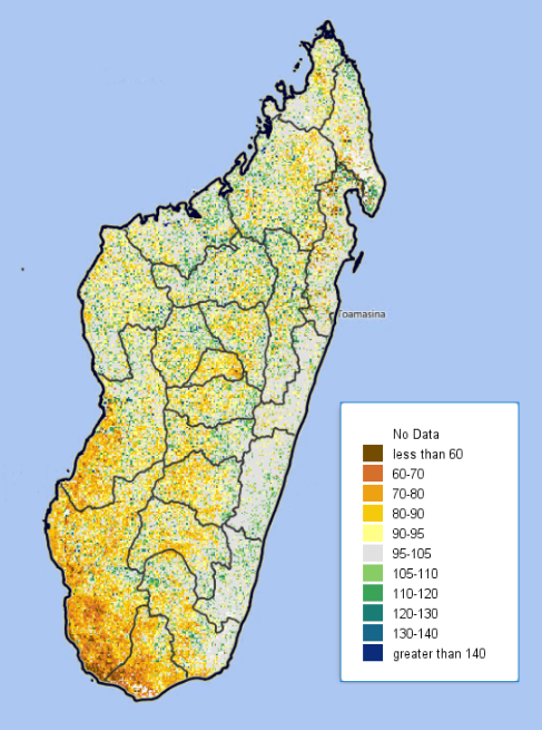 NDVI map showing poor vegetation health in the south and southwest of Madagascar