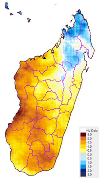 Figure 1. November 2015 to January 2016 CHIRPS rainfall estimates, represented by z-score