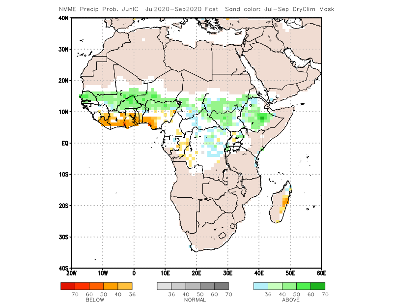 Precipitation forecast, July to September 2020 indicates a high probability of normal to excess cumulative rainfall in Mali, particularly in the center where excess rainfall is expected