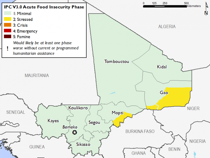 Current Food Security Map, February 2019: Most of the country is in Minimal (IPC Phase 1) except that left Gao and Mopti who are in Stressed (IPC Phase 2)