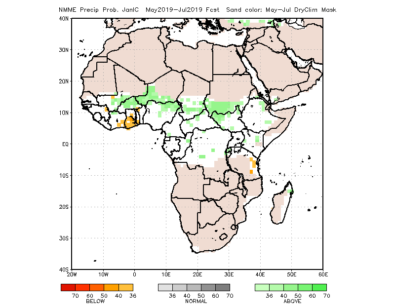 Precipitation forecast map May to July 2019 according to NOAA: average rainfall forecast or more than average