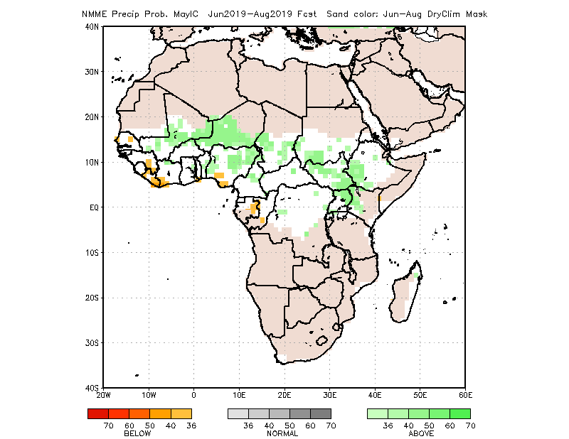 Precipitation forecast map May to July 2019: Average or higher than average in Mali