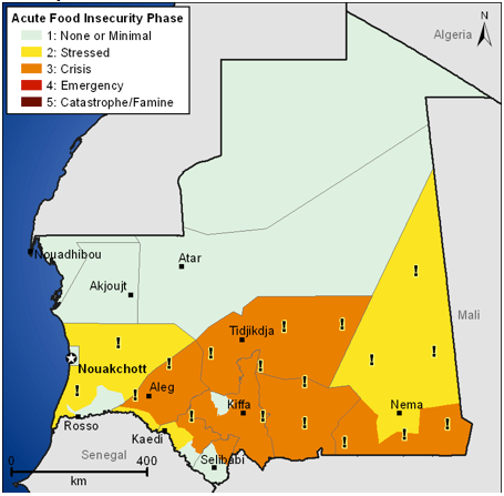 Most likely food security outcomes for April 2012