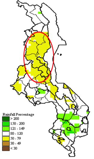 Areas affected by mid-Season dryness in Malawi