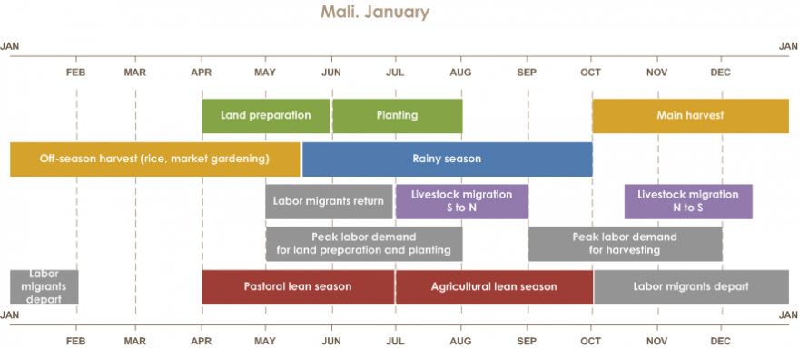 Mali seasonal calendar  Rainy season is from mid-May until October. Land preparation is from April until June. Planting is from June until August. Main harvest is from October until January. Off-season harvest (rice, market gardening) is from January unti