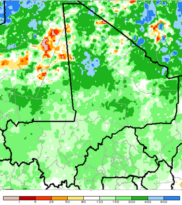 Figure 1. Estimated cumulative rainfall anomalies (ARC2) for the period from July 1st through September 30, 2015 as a percentage of the average
