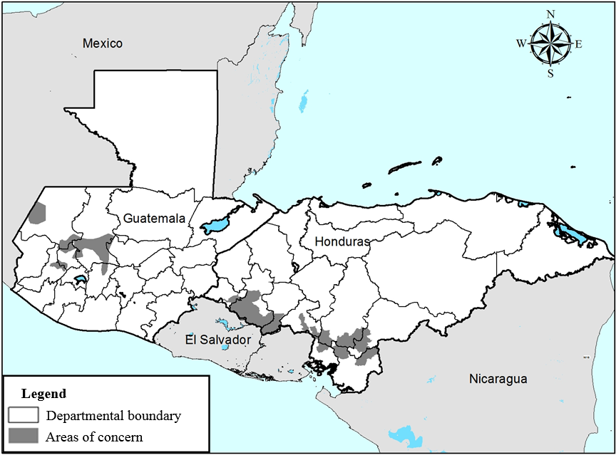 Areas of concern in the Guatemalan highlands and southwestern Honduras