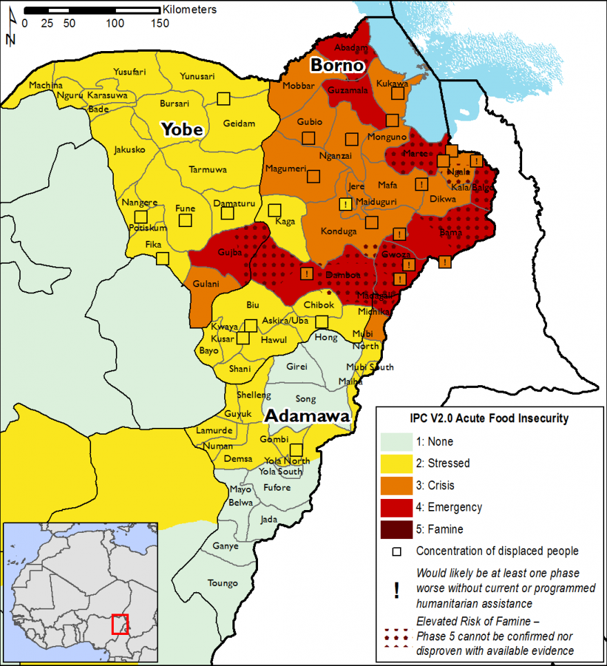 Most of Borno state is in phase 3 and 4, while most of Yobe and Adamawa are in phase 2.