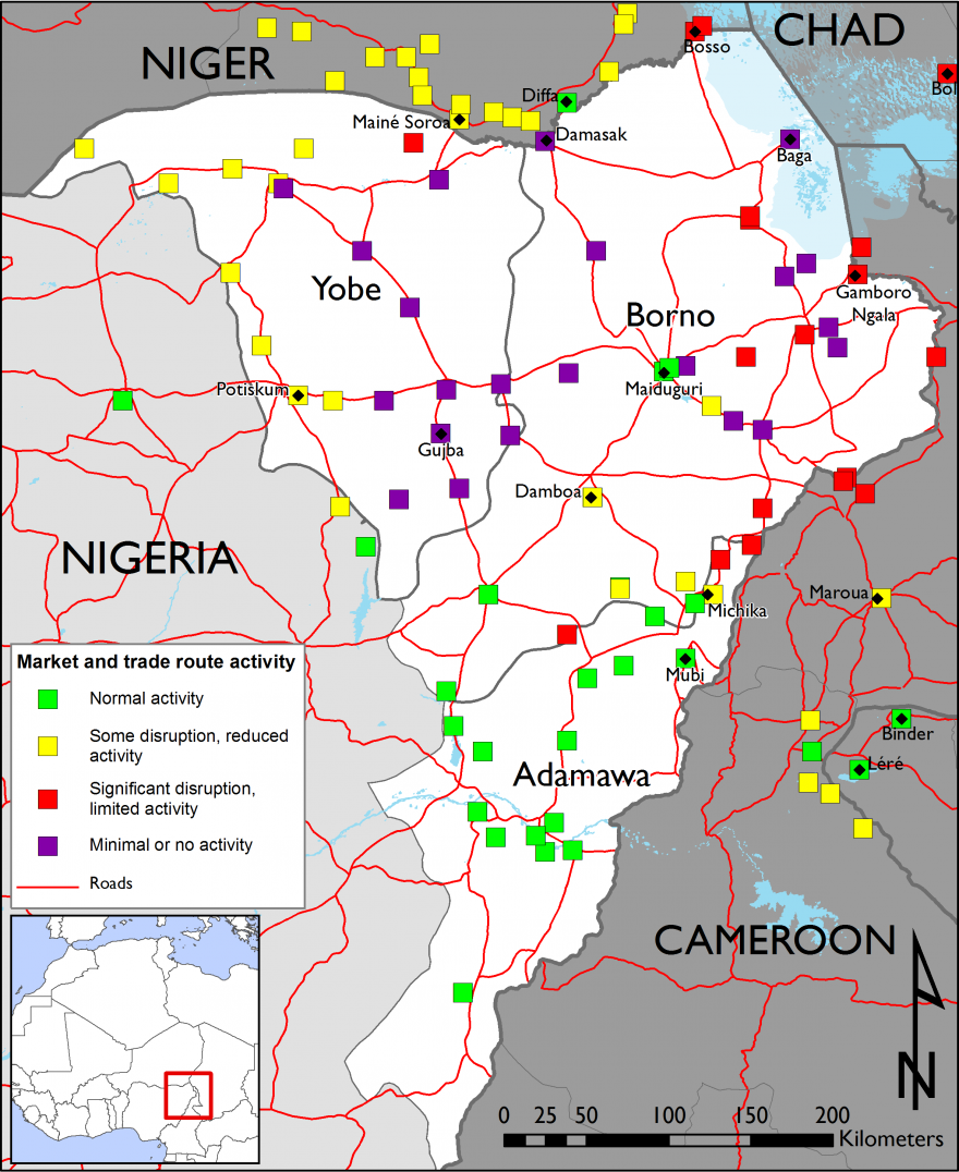 Figure 1. Northeast Nigeria market and trade route activity – week of December 14, 2015