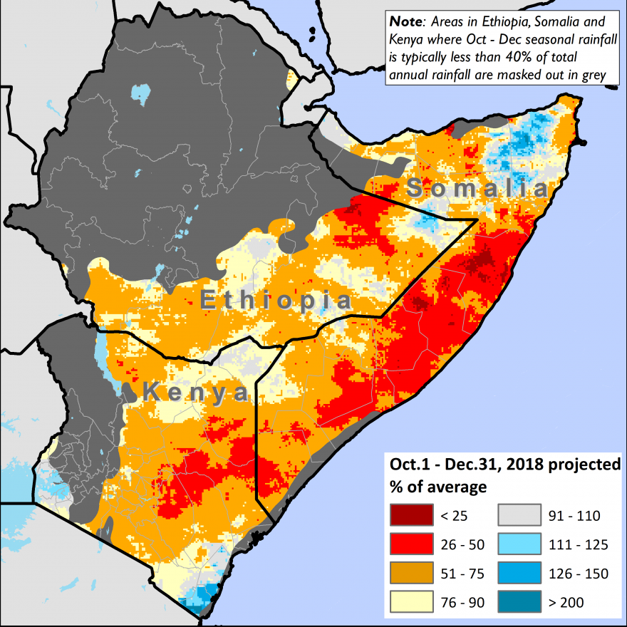 Graphic depicts rainfall deficits that are 25-49 percent below average in most areas of the Horn of Africa, with central Somalia and parts of southern Somalia, eastern Kenya, and eastern Ethiopia registering deficits of 50-75 percent.
