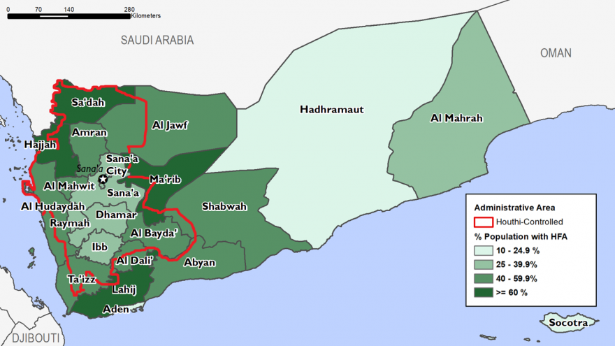 Map of Yemen. In Hadhramaut, Socotra, and Aden, 10-24.9% of the population receive humanitarian assistance. In Sana'a, Sana'a City, Dhamar, Raymah, and Ibb, this figure is 25-39.9%. In Al Hudaydah, Al Mahwit, Amran, Al Jawf, Ta'izz, Al Dali', Al Bayda, Abyan, and Shabwah, this figure is 40-59.9%. In Hajjah, Sa'dah, Lahij, and Ma'rib, this figure is over 60%. Houthi-controlled areas include the area surrounded by and contained within much of Hajjah, Sa'dah, Al Jawf, Ma'rib, Al Dali, Ta'izz, and Al Hudaydah.