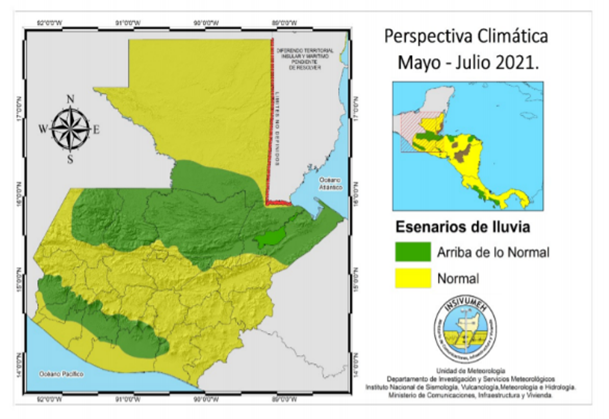 Normal or higher than normal rainfall is expected throughout the country between May and July 2021
