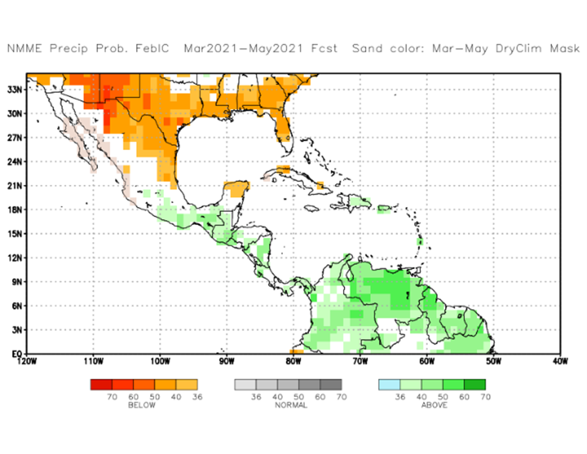 Precipitation in much of Central America is expected above average
