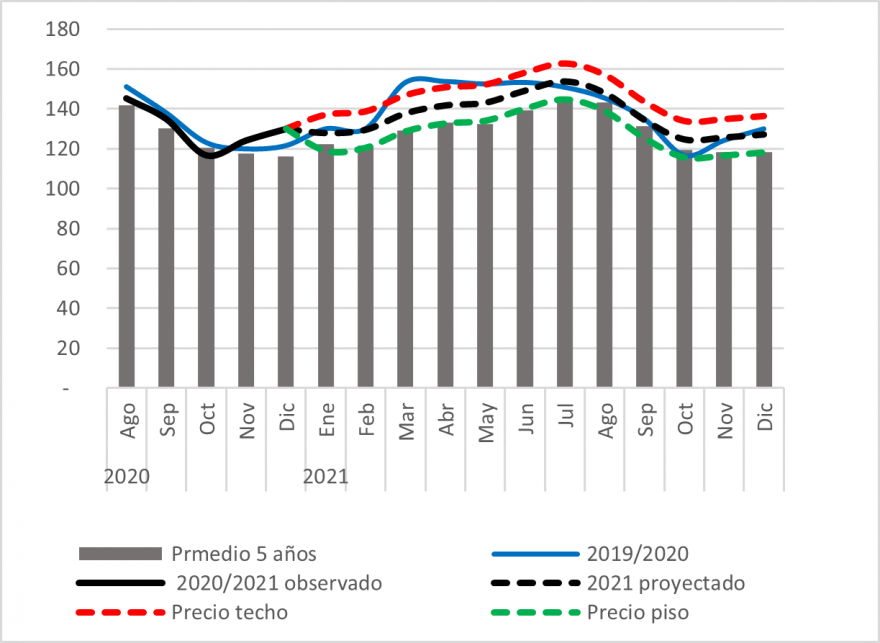 Maize prices are expected above average but following the seasonal trend