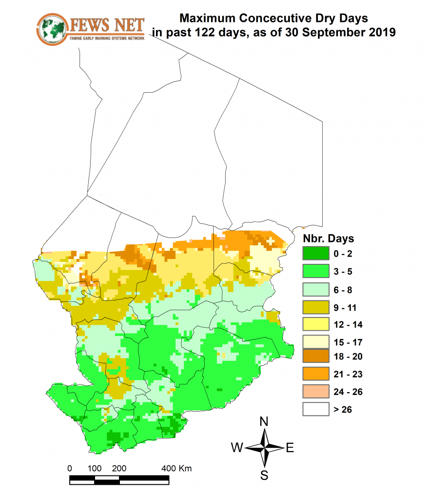 The south has few days without rain, while the Sahelian belt has drier conditions.