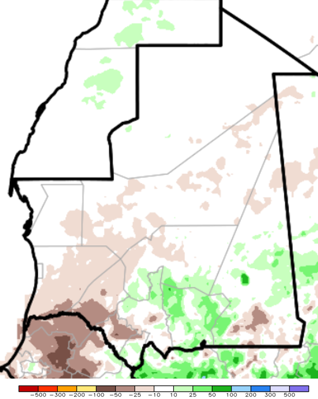 Figure 1. Estimated cumulative rainfall anomalies (RFE) for the period from June 1st through July 28, 2015, in mm