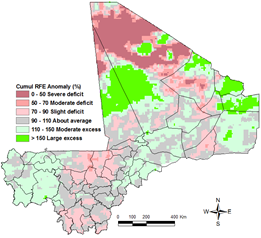 Figure 3. Estimated cumulative rainfall anomalies (RFE) for the period April 1, 2015 through August 20, 2015