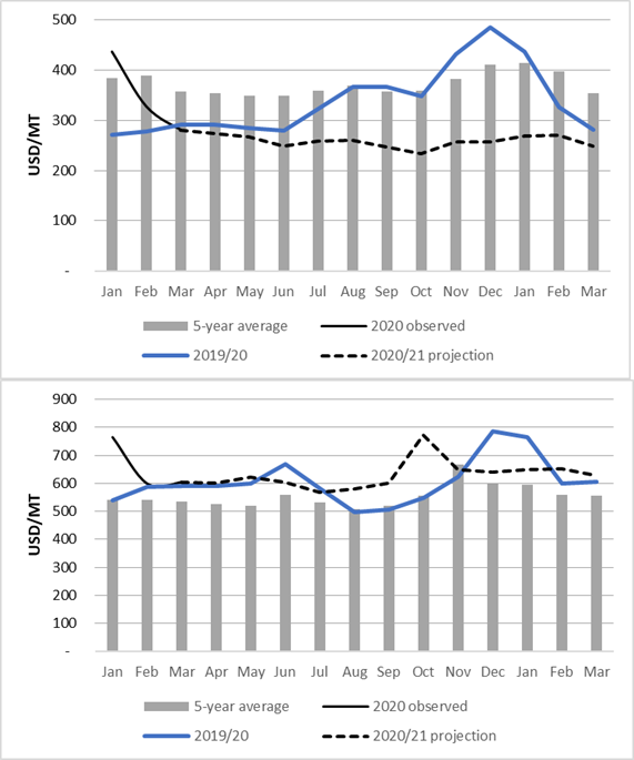 Projected maize grain (top) and dry beans (bottom) prices in Kigali (USD/MT). Maize grain prices are stable through January 2021.  Dry bean prices remain stable but spike in October before falling in November and stabilizing.