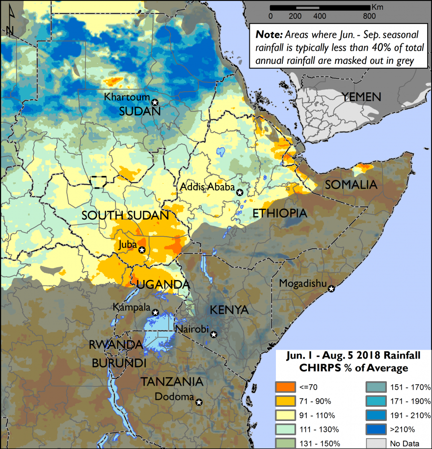 The map shows rainfall as a percentage of normal for the main rainy season of northern areas of East Africa, from July 1st through August 5th.  Average to above average rainfall is shown across northern South Sudan and northern and western Ethiopia.