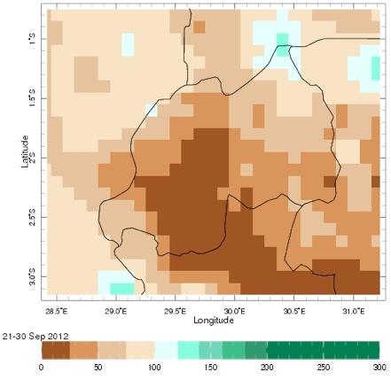 September 2012 rainfall as a percentage of the short-term average (%)