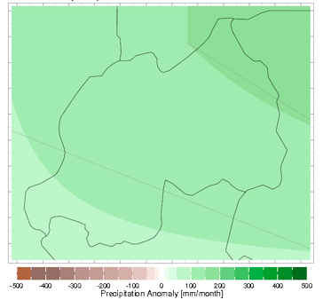 Monthly precipitation abnormality in millimeters (mm), March 2013