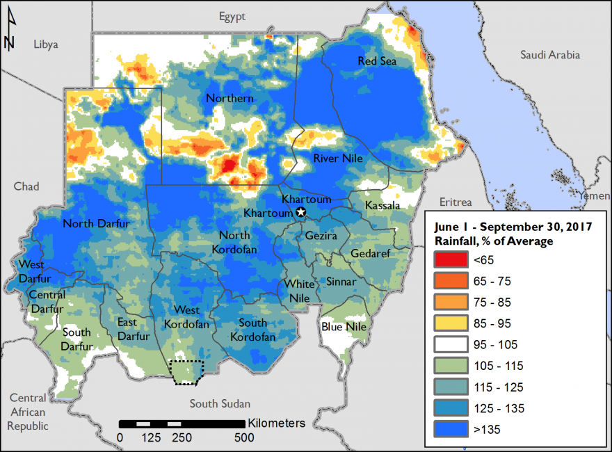 Figure 1. CHIRPS-estimated rainfall anomaly, percent of average (1981-2016), June 1-September 30, 2017