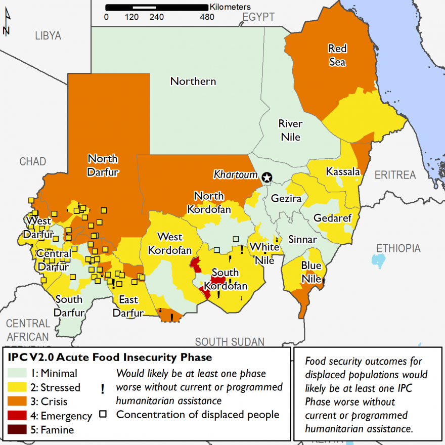 Map 1: Current food security outcomes, June 2018 Crisis (IPC Phase 3) outcomes are present in parts of North Darfur, East Darfur, West Kordofan, North Kordofan, Blue Nile, Kassala, and Red Sea States. Small portions of South Kordofan face Emergency (IPC P