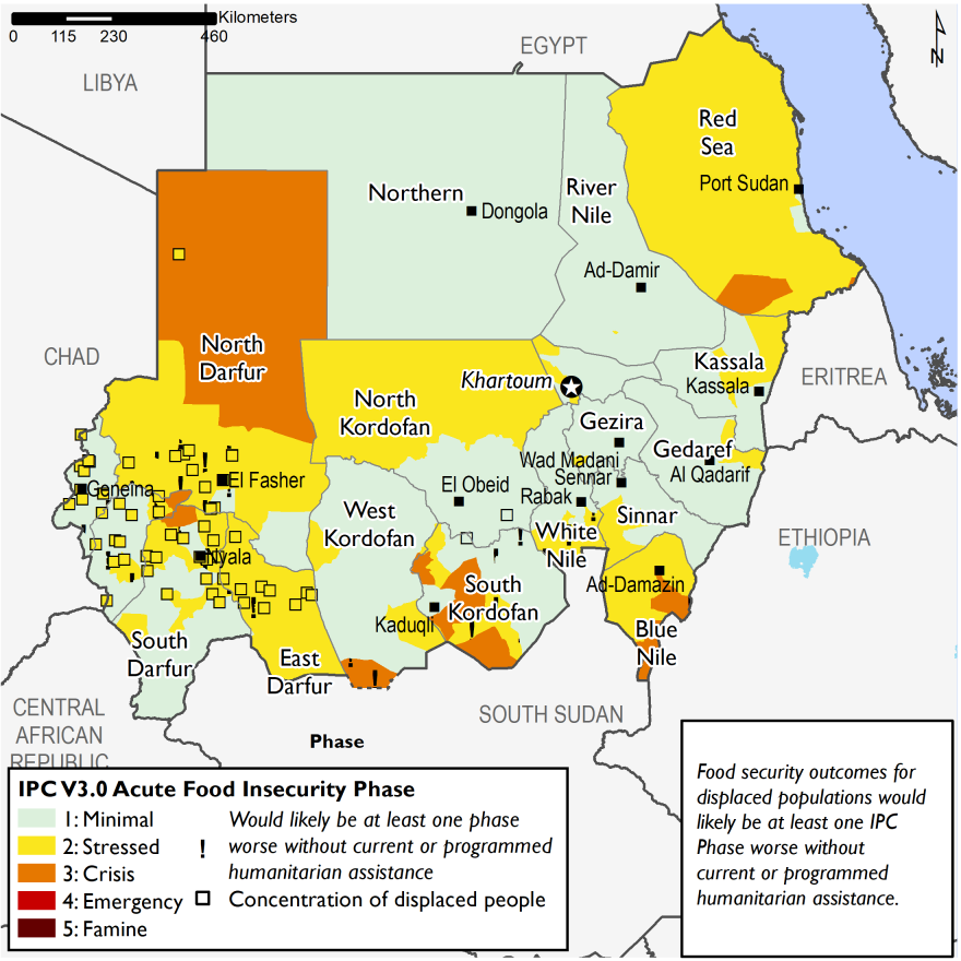 This map shows current food security outcomes in Sudan for February 2020. Large areas of the country are in Minimal (IPC Phase 1) and Stressed (IPC Phase 2), while small areas in southern and western Sudan are in Crisis (IPC Phase 3).