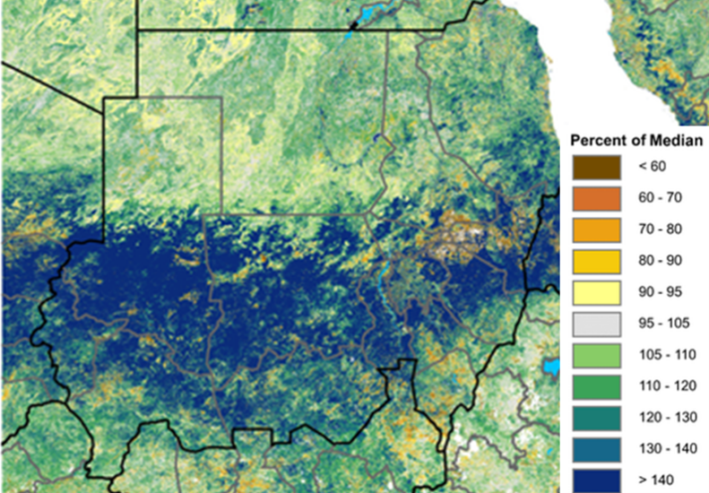 Normalized Difference Vegetation Index (NDVI), percent of median, October 11- 20, 2020. In mid-October, the Normalized Difference Vegetation Index (NDVI) showed dense vegetation conditions (over 140 percent of median) across central, western, and southeastern Sudan. NDVI also remains above the median across most parts of Northern and River Nile state, northern Red Sea state, and southern parts of South Kordofan and South Darfur states.