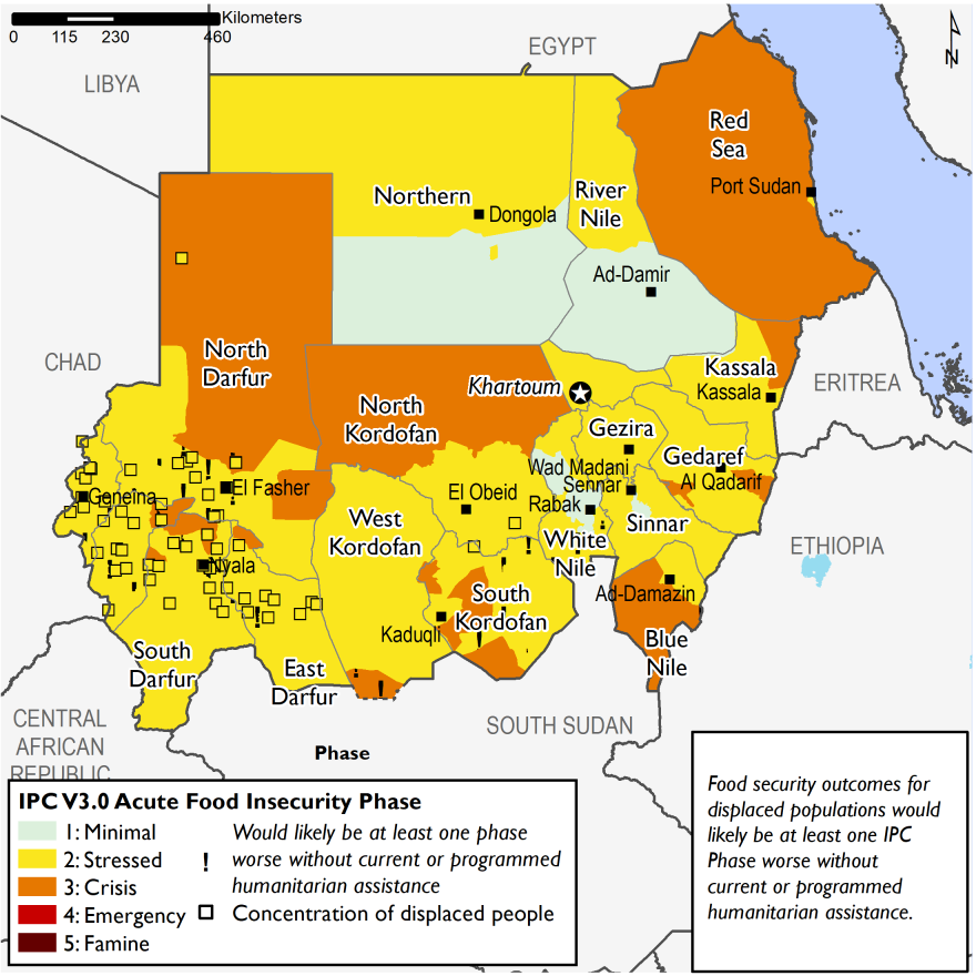 Current food security outcomes for June 2020. This map show large areas of Sudan in Stressed (IPC Phase 2) and Crisis (IPC Phase 3).