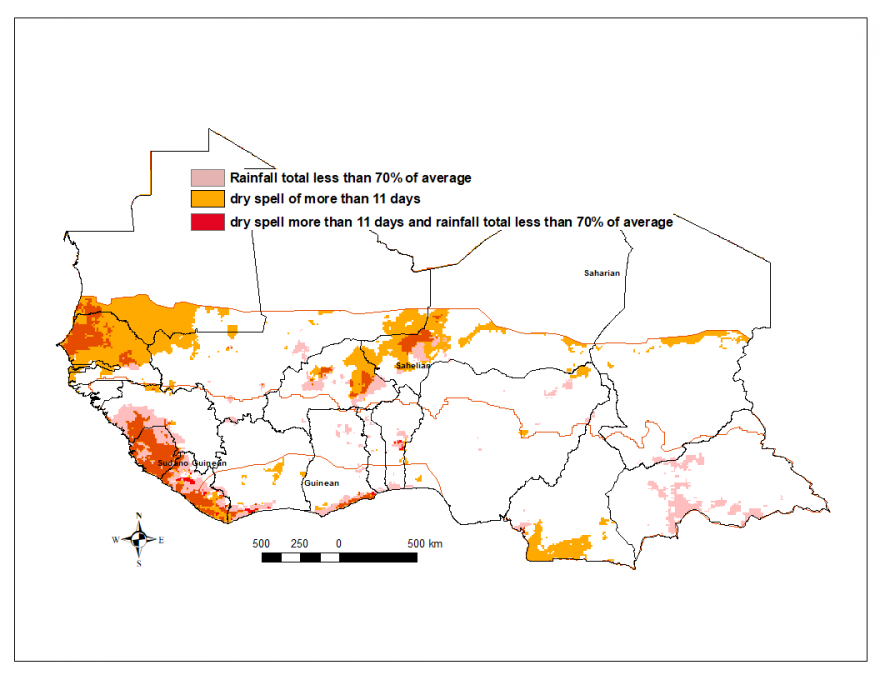 Graphic of total rainfall estimate (RFE) anomaly and dry spells, 2nd dekad of June to 1st dekad of July. Areas with dry spells along the Gulf of Guinea and the border region of Senegal and Mauritania.
