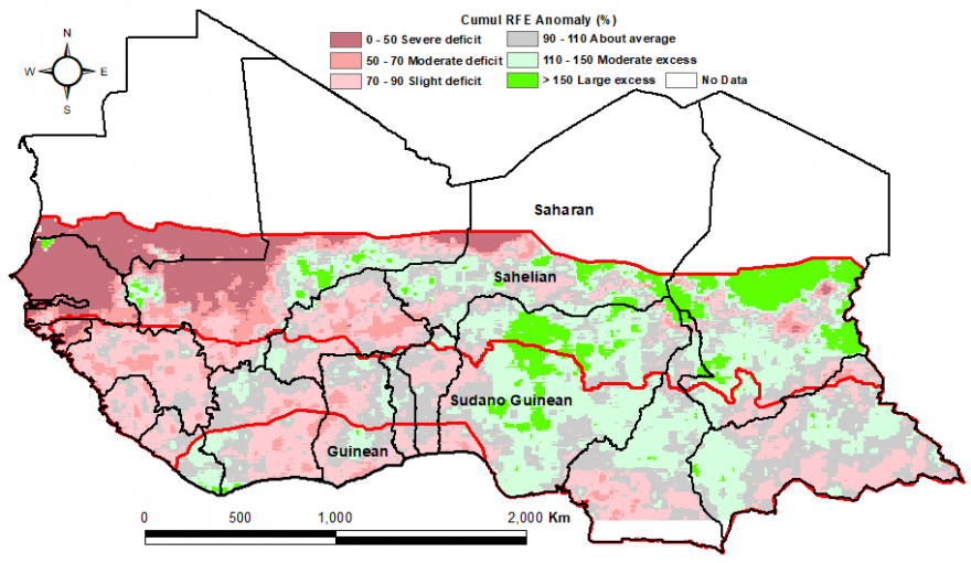 Most of West Africa is showing a average to slightly below-average rainfall anomaly according to RFE. Greater defecit is seen over Senegal, southern Mauritania and western Mali. Rainfall surplus is seen over parts of Mali, Niger, Nigeria, Chad, and Camero