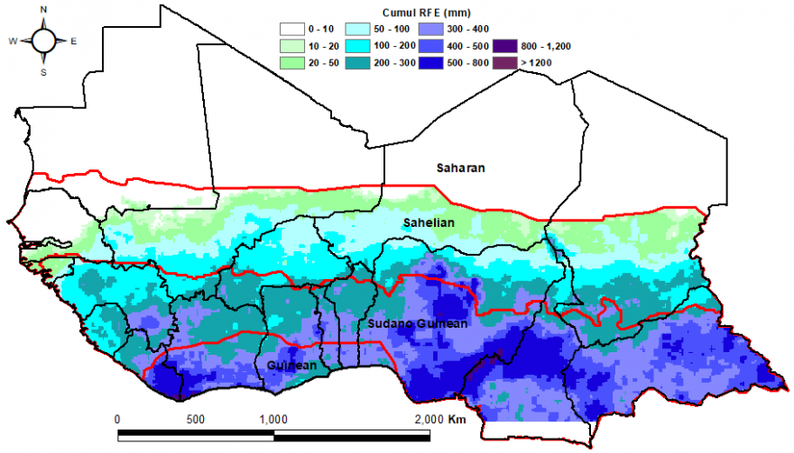 Greater rainfall recorded over the Gulf of Guinea countries while less the farther into the north and Sahelien region.