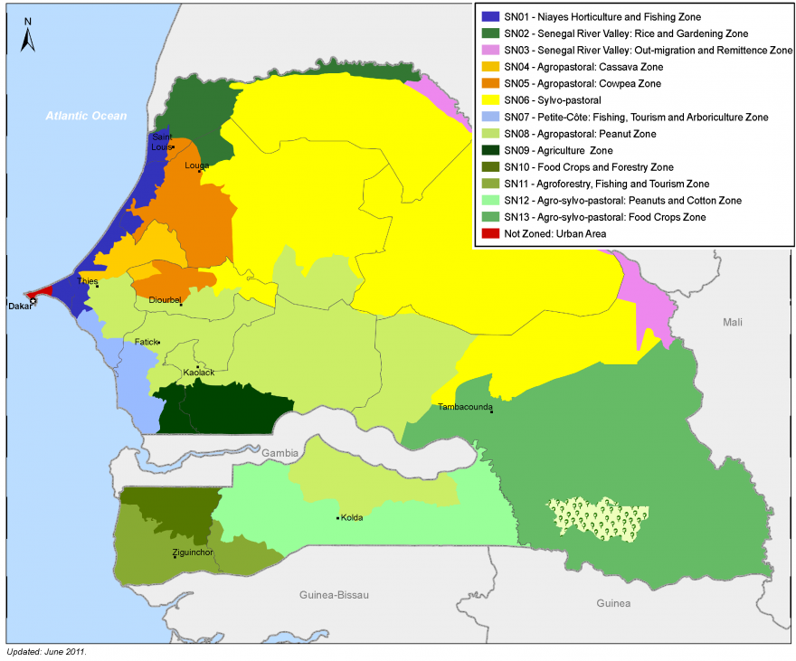 Figure 2: Livelihood zone map of Senegal