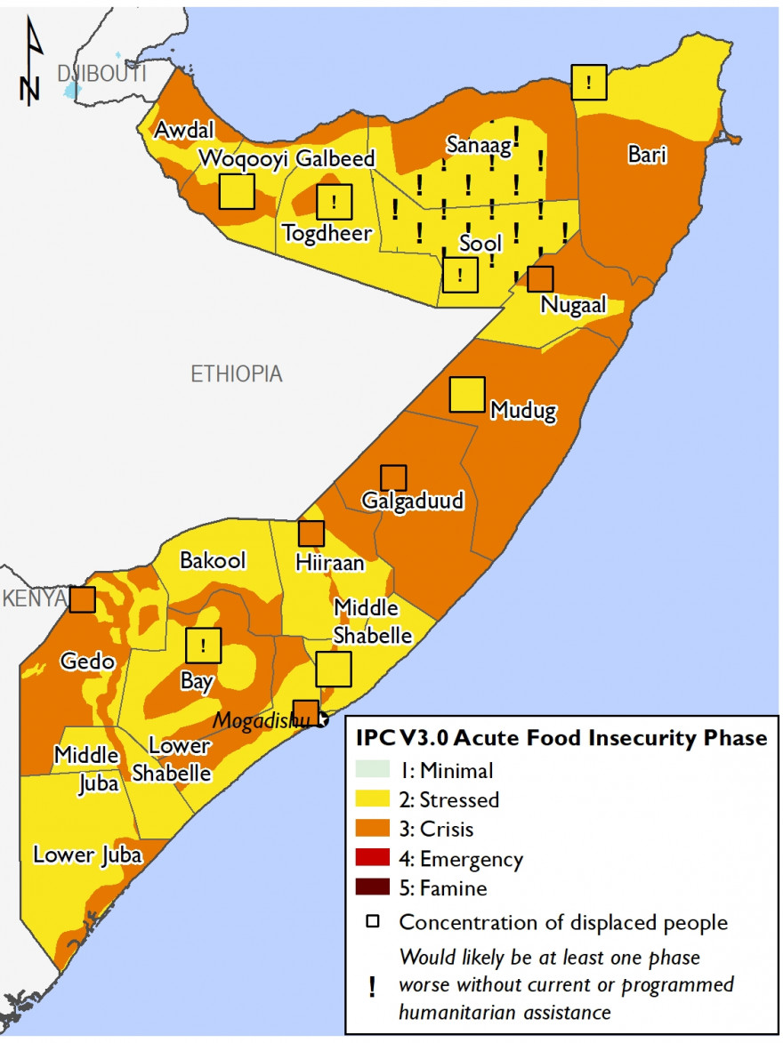 Map of Somalia showing Current food security outcomes, June 2021