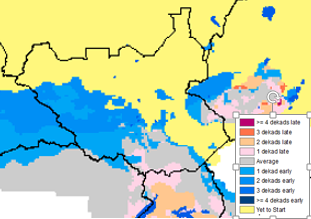 Figure 4. Onset of rains compared to the median, as of April 1, 2015