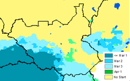 Figure 3. Onset of rains, as of April 1, 2015