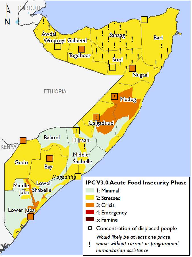 Map of food security outcomes in Somalia in February 2020