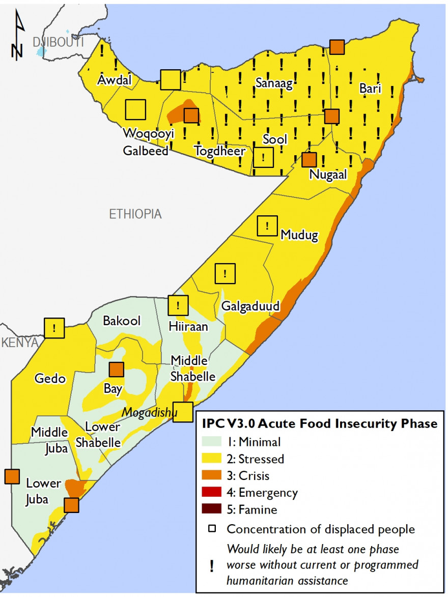 Map of current food security outcomes in February 2021
