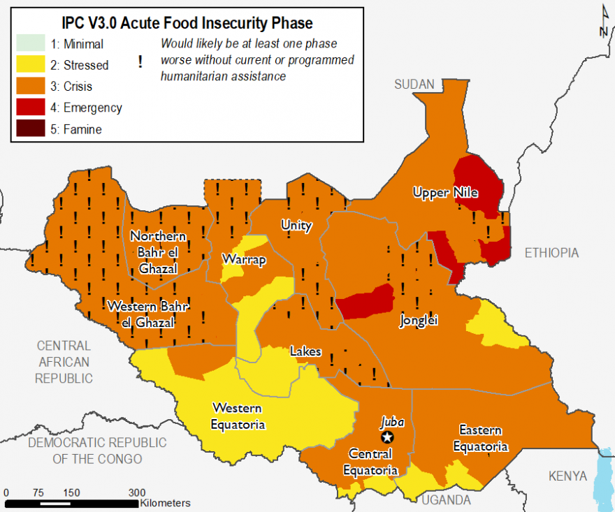 Map of South Sudan showing food security outcomes in October 2019. Food insecurity is most severe in Ulang, Maiwut, and Maban counties of Upper Nile and Duk county of Jonglei, where Emergency (IPC Phase 4) outcomes exist. In other counties of concern, including Yirol East and Cueibet of Lakes, Canal/Pigi of Jonglei, and Budi of Eastern Equatoria, where Crisis (IPC Phase 3) exists.