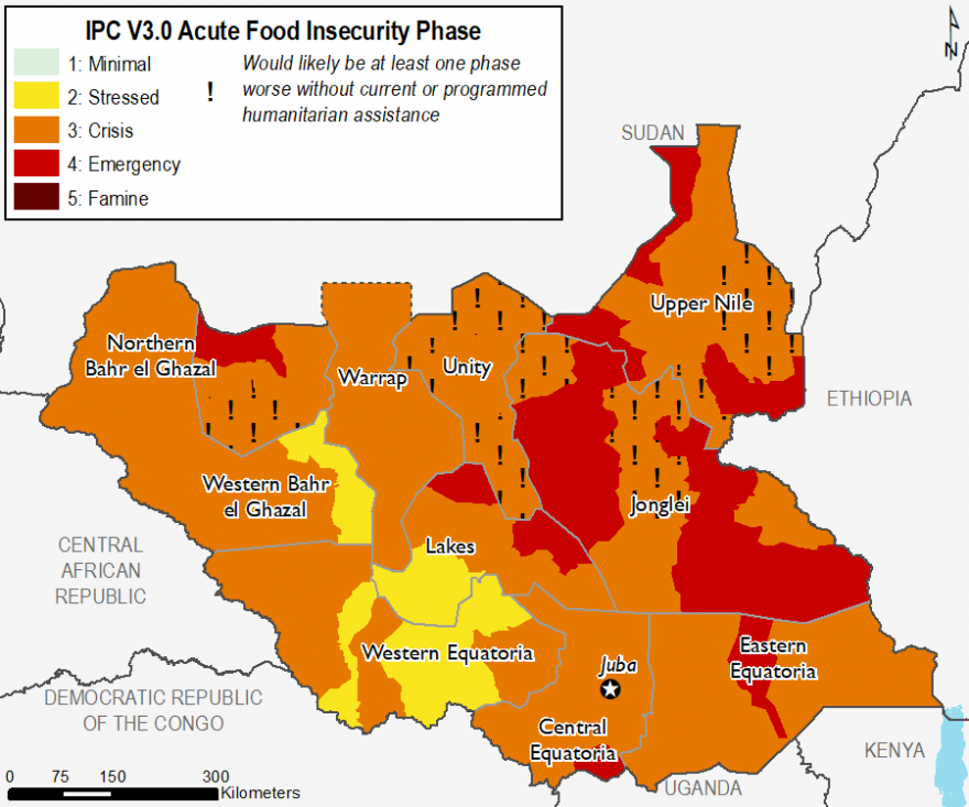Map of food insecurity outcomes in South Sudan in February 2020