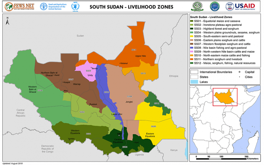 South Sudan livelihoods map for 2018