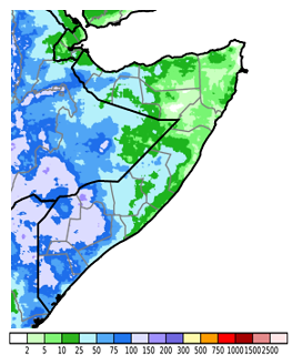 Map of Somalia depicting cumulative rainfall in millimeters from April 11th to 20th