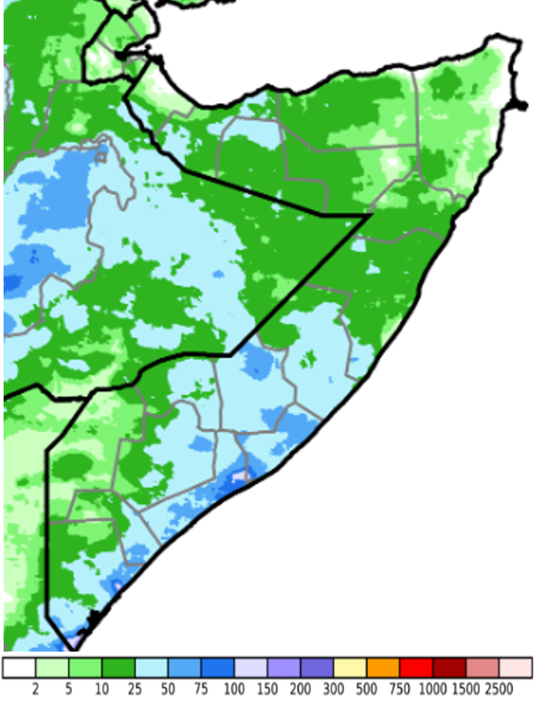 Map of Somalia showing the estimated rainfall accumulation from May 1st to 10th in millimeters