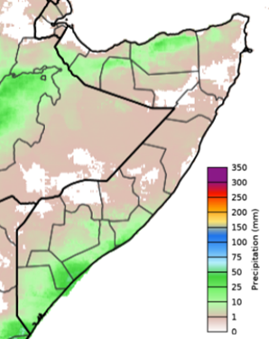 Map of Somalia depicting cumulative rainfall in mm during the June 1-10 period