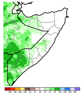 Map of Somalia depicting the cumulative rainfall from April 11th to April 20th as an anomaly in millimeters compared to the long-term mean