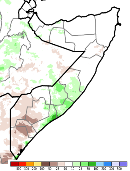 Map of Somalia showing the difference of rainfall accumulated from May 1st to 10th from the long-term average