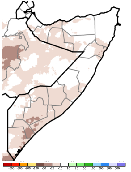 Map of Somalia showing the rainfall anomaly in millimeters compared to the long-term average during the period of May 11 to 20, 2020